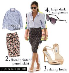 dark floral midi pencil, striped shirt (pattern mixing!), neutral shoes.