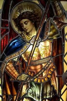 Beloved Archangel Michael, thank you for all you do and for all you are! We love Archangel Michael, we love you! Saint Michael, St. Michael, Stained Glass Church, Stained Glass Art, Angels Among Us, Angels And Demons, Catholic Art, Religious Art, Archangel Prayers