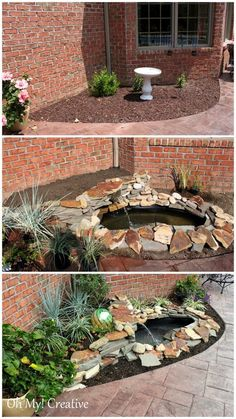 DIY Garden Waterfall and Pond   Be very   careful digging this close to the house because of underground lines.  Sure   don't want to hit a gas or phone line!!  This one posting has been shared nearly   a thousand times!!  Sharing this post has just about been done 2,000   times!!!