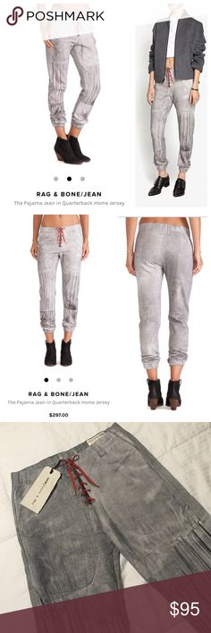 Rag& Bone Quarterback Pajama Jean I love these pants!!! They are soo cute and unique! They make a statement, but are so cool and effortless at the same time! These are made by Rag & Bone and are a size small! They have an elastic waist and feature a dyed gray wash to them with some stitching detail as well! They have the red lace up print at the front and have 2 slip pockets as well! These are brand new with tags and retail for $297! Size Small! These are amazing! rag & bone Pants