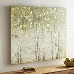Those are birch trees, right? We'd know that bark anywhere. And while they mostly grow in northern climates, our piece lets you plant a birch forest in any region and room. Painted on a cotton canvas, it boasts green and golden leaves and a slightly weathered appearance.