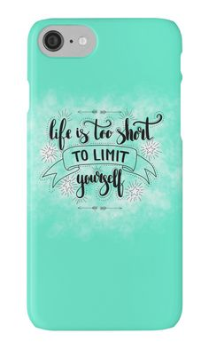 """Life is too short to limit yourself. Inspirationa quote on green background."" iPhone Cases & Skins by Maria-So 