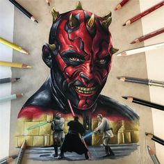 Darth Maul from Star Wars movie, nice color pencil drawing by Adam Milton from Perth. Star Wars Drawings, Art Drawings, Red Lightsaber, Star Wars Fan Art, Comic Drawing, Arte Horror, Epic Art, Darth Maul, Color Pencil Art