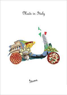 Vespa ~ Made in Italy Lambretta, Piaggio Vespa, Vespa Vintage, Vintage Italy, Vespa Ape, Vespa Scooters, Triumph Motorcycles, Vespa Illustration, Ducati