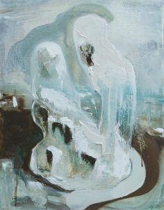 Figures at Moonrise, Sasha Bowles, Painter. Oil on Canvas, Recent work.