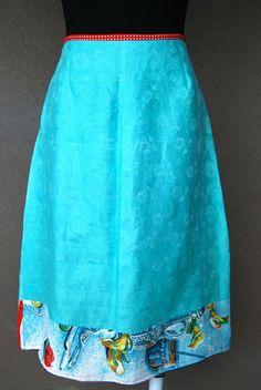 blue medium aline vintage retro skirt by Rustyeggwhisk on Etsy, $35.00