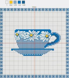 Daisy Tea Cup free cross stitch pattern from www.coatscraft.pl