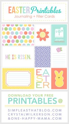 FREE Easter themed journaling + filler cards. Scrapbook your family Easter with these free printable easter papers.