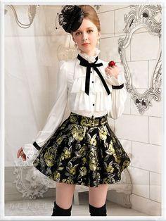 Mango Doll - Black and Gold Floral Skort , $49.99 (http://www.mangodoll.com/all-items/black-and-gold-floral-skort/)