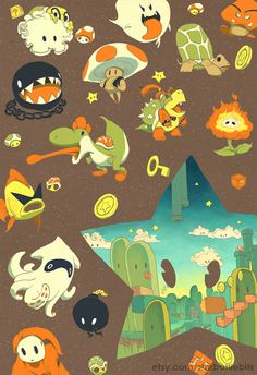 mario enemies cute illustration allies power star landscape retro vintage