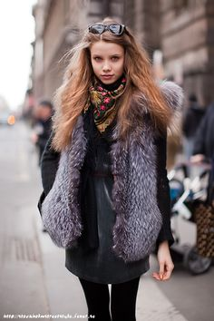 printed scarf + oversize fur vest + emerald dress