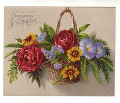 Vintage Victorian New Year Wishes Card 1800s Flower Basket (Image1)