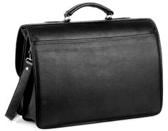 Briefcase with front gusseted pocket - Black - In stock - Back View