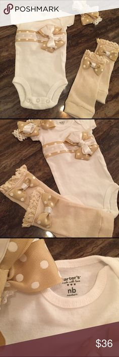 BABY GIRL ONEPIECE OUTFIT W/leg warmers & Headband This is a new Boutique item Hand made One piece with BEIGE polkadot bows in a new born size , its a new one piece tee, with the hand made leg warmers with polkadot bow design and the head band.  This is a great baby shower gift and it's so far one of a kind.  I may make more because they are so adorable.  Bring the baby home in this adorable little white, BEIGE  and polkadot set. Thanks for looking questions please ask . Carter's Matching…