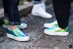 Two women wearing matching metallic sneakers Stella Mccartney, Sock Shoes, Shoe Boots, Metallic Sneakers, Baskets, Walk This Way, Fashion Shoes, City Fashion, Street Chic