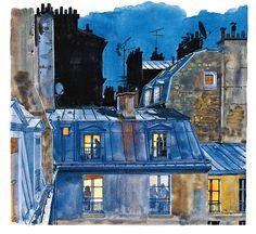 Rue de Ménilmontant. Belleville. Aquarelles © Fabrice Moireau / Les Editions du Pacifique.