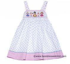 Anavini Girls White / Blue Polka Dots Smocked Princess Strap Sun Dress. Disney Princess dress for our Disney Vacation can't wait to take Makenna :)