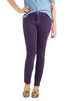 Slim cut jeans in jewel tones: Jewel Be Surprised Pants in Amethyst, Vintage Pants, Vintage Jacket, Purple Pants, Colored Pants, Plaid Pants, Cut Jeans, Modcloth, Denim Fashion, Fall Outfits