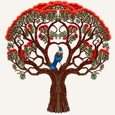 Tree as black and red and green in colour of the pohutukawa tree, bird change too nz fantail