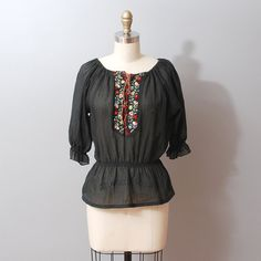 1970s Blouse  Black Peasant Top Embroidered by OldFaithfulVintage, $35.00