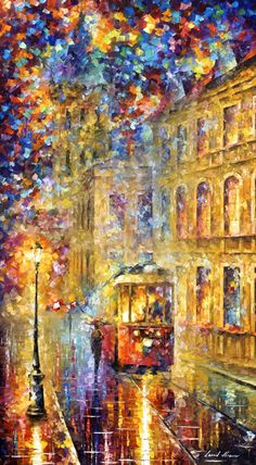 """""""Last trolley"""" by Leonid Afremov ___________________________ Click on the image to buy this painting ___________________________ #art #painting #afremov #wallart #walldecor #fineart #beautiful #homedecor #design"""