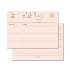 Description: Recipe cards for the Bride-to-be are a great way to give a truly personalized gift - from your kitchen to hers! Include with bridal shower invitations or pass out at the shower. Details: