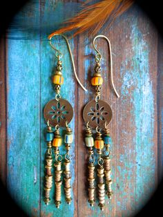 The Prairie ~ Natural rustic boho dangle earrings with Indonesian beads, African clay and brass heishi beads & antiqued brass by qisma @ Etsy