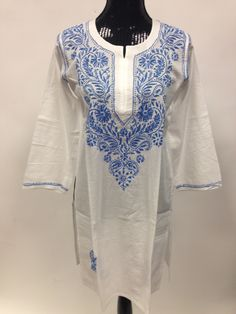 Lucknowi Chikankari Long Kurti - White & Blue
