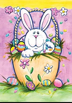 """Easter Bunny /& Eggs 12/"""" x 16/"""" Mini Deco Flag Polyester All Weather  Colorful!"""