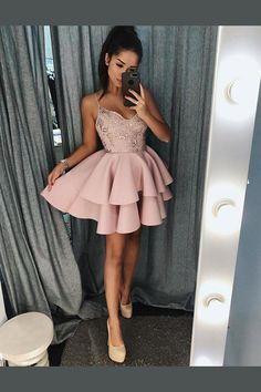 Prom Dresses With Appliques Prom Dresses Short A-Line Prom Dresses Beautiful Prom Dresses Homecoming Dresses 2018 Colorful Prom Dresses, Grad Dresses Short, A Line Prom Dresses, Beautiful Prom Dresses, Dance Dresses, Formal Dresses, Dress Prom, Lace Evening Dresses, Dresses Dresses