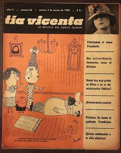 Tapa de Tía Vicenta. La revista del nuevo humor, año II, nº30, martes 4 de marzo de 1958.  Chiste de tapa: -¡Pobre! Antes de leer el diario, se olvidó de tomar las gotas para el corazón. Por Landrú.