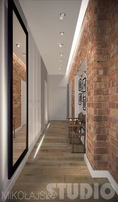 Przedpokój Style At Home, Exterior Design, Interior And Exterior, Corridor Design, Apartment Bedroom Decor, Industrial House, Loft Style, Hallway Decorating, Exposed Brick
