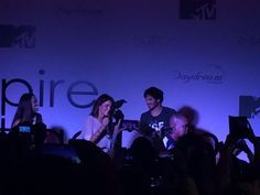 Nikki joined Ian on stage after fans chatting for her at the Vampire Attraction Con in Rio, Brazil 2015 (05/02/15)