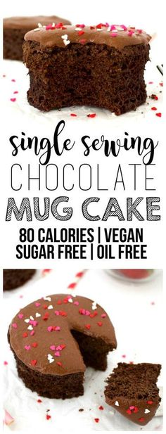 Healthy Single Serving Chocolate Mug Cake! Perfect for Valentine's Day (Vegan, Whole-Wheat, Oil-Free, Sugar-Free, Low-Calorie)