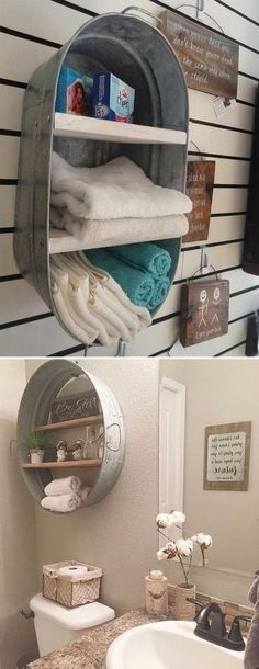 Decorative Rustic Storage Projects for Your Bathroom Using natural and rustic elements in the bathroom will make the most important area of your house look very chic and relaxing. The home decor in rustic style becomes more and more popular. A bathroom Easy Home Decor, Cheap Home Decor, Nature Home Decor, Rustic Decorations For Home, Rustic Home Decorating, Recycled Home Decor, Interior Decorating, Cheap Rustic Decor, Rustic Crafts