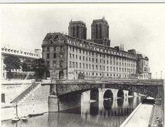 Photographie de l'Ancien Hôtel Dieu et Notre Dame de Paris au XIXe siecle