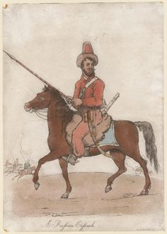 A Russian cossack (1813). By Dighton, R.. Hand colored aquatint (probably after Dighton); mounted figure in military costume with lance in hand, facing left, small mounted figures with lances in background. From the Anne S.K. Brown Military Collection