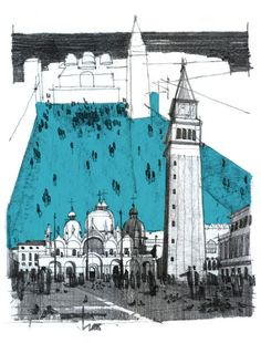 Andrei (Zoster) Răducanu, Piazza San Marco, Venice, 2010. Pencil and marker.