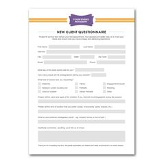 New Client Questionnaire Form Template for Photographers