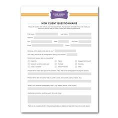 New Client Questionnaire Form