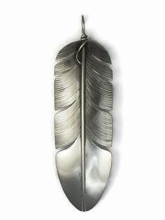 """Large Sterling Silver Feather Pendant 3""""+ by Lena Platero from Southwest Silver Gallery. Native American Silver Feather jewelry by Lena Platero http://www.southwestsilvergallery.com/asccustompages/products.asp?CategoryId=408&Start=0"""