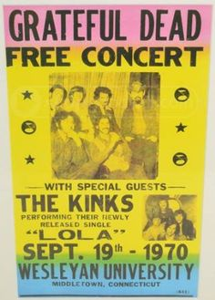 Colorful Concert Poster Grateful Dead & The Kinks