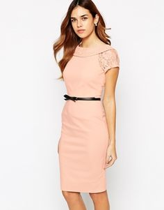 Paper Dolls Belted Pencil Dress With Bardot Neck and Lace Sleeve