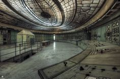 The amazing control room in a abandoned power plant in Hungary. It was build between 1927 and 1929. The little house inside the control room is actually a bunker where the workers could hide during bombing raids. The power plant became the largest one in the country and the most modern in Central Europe before it was abandoned in 2006. photo by Martin Widlund