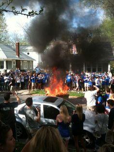 nothing like a kentucky celebration, we do it big. Burning couches after beating Baylor. Way to go UK Greeks!