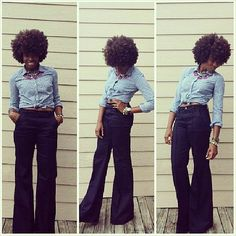 @Nubi Interiors rocks a well shaped #fro and a pair of flared pants like nobody's business. #Fierce! #teamnatural #naturalhair #afrolicious