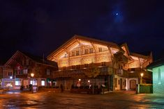 Gstaad by Night Cabin, Mansions, Night, House Styles, Home, Decor, Cabins, Ad Home, Luxury Houses
