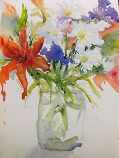 An original watercolor floral painting by Cheryl Olson.