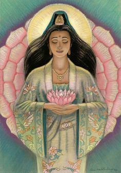 Kuan Yin Pink Lotus Heart Painting  - LOVE this representation of Kwan yin. Feeling connected lately & here she almost looks cherokee. <3