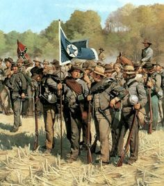 The Color Guard of the 6th and 15th Texas consolidated in Granbury's Texas Brigade, Cleburne's Division, Hardee's Corps, Army of Tennessee. By Keith Rocco